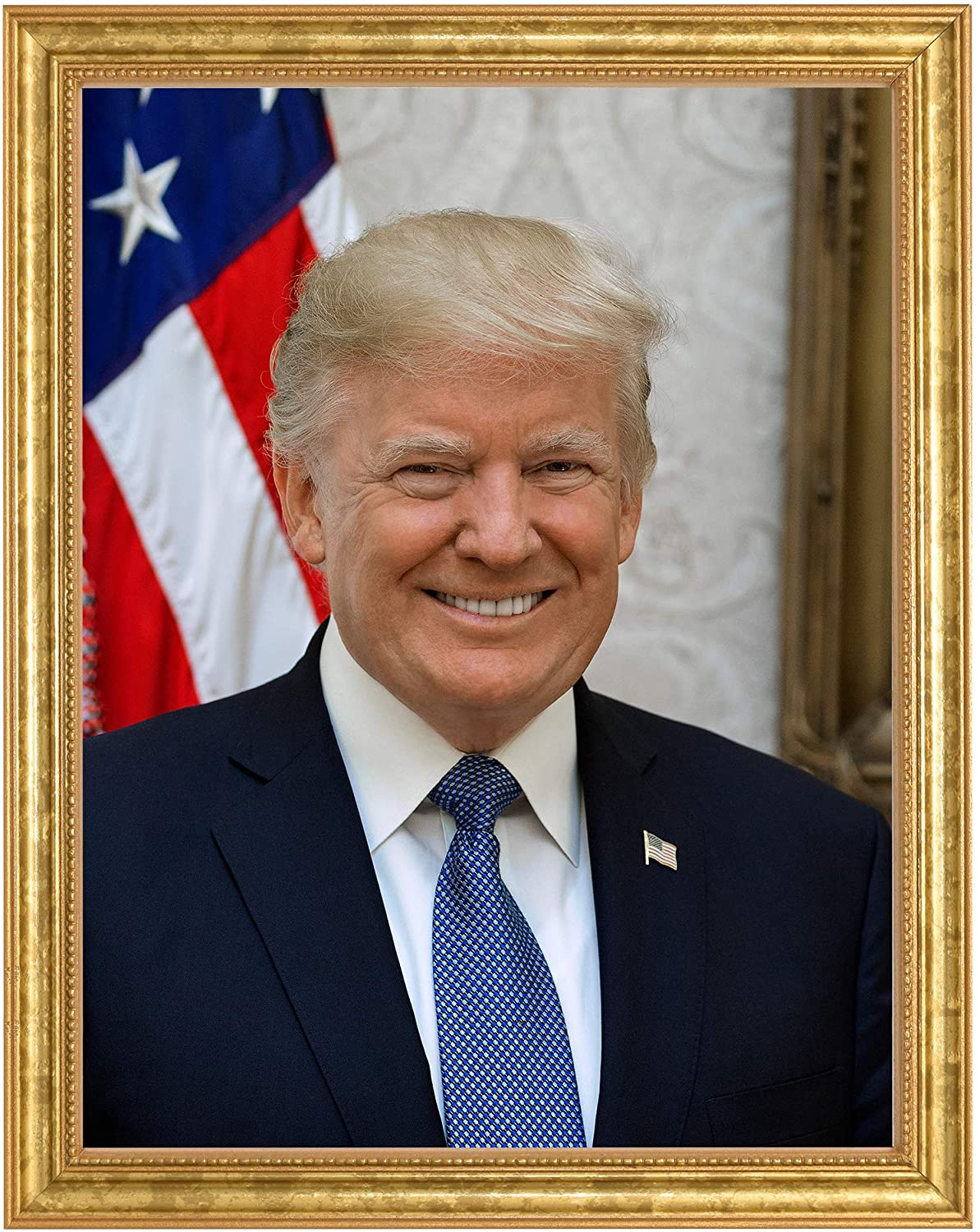 Donald J. Trump Photograph in a Aged Gold Frame - Historical Artwork from 2017 - (11