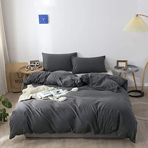 BANOOS Grey Duvet Cover Set King Size Cotton,100% Washed Cotton Bedding Set with King Duvet Cover Set,3 Pieces Skin-Friendly Super Soft Breathable Comforter Cover King Size