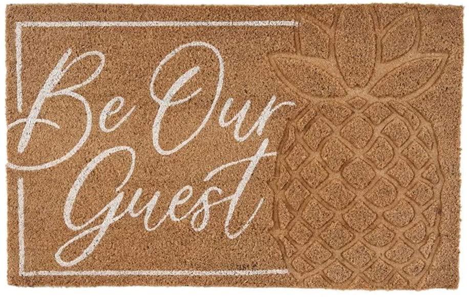 Mud Pie 41200039 Be Our Guest Doormat, 18 x 29 inch, Brown