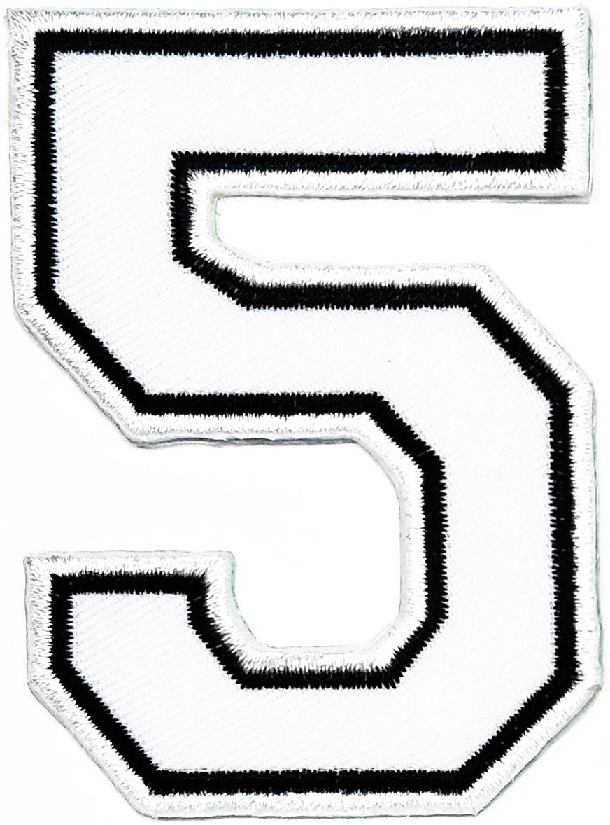 HHO White Number 5 Patch Embroidered DIY Patches, Cute Applique Sew Iron on Kids Craft Patch for Bags Jackets Jeans Clothes