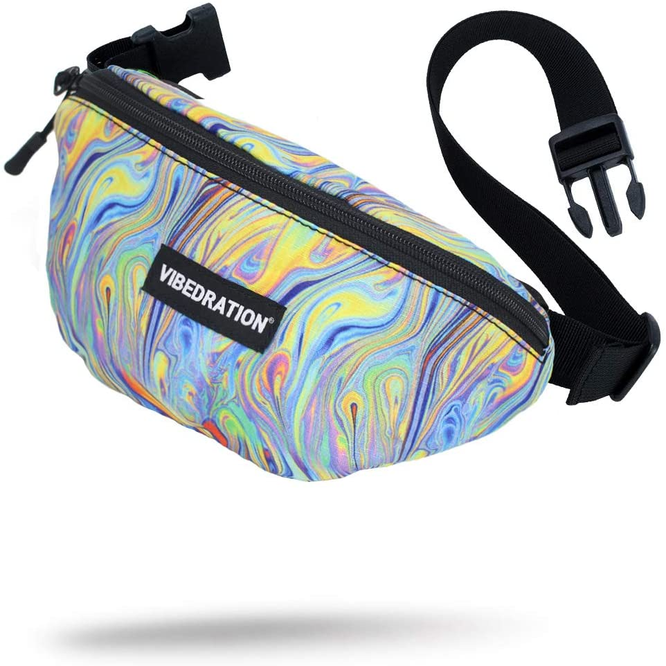 Vibedration Fanny Pack | Fashion Waist Packs for Travel, Festivals, Raves | Everyday Belt Bag for Women, Men, Kids (Psychedelic Swirls)