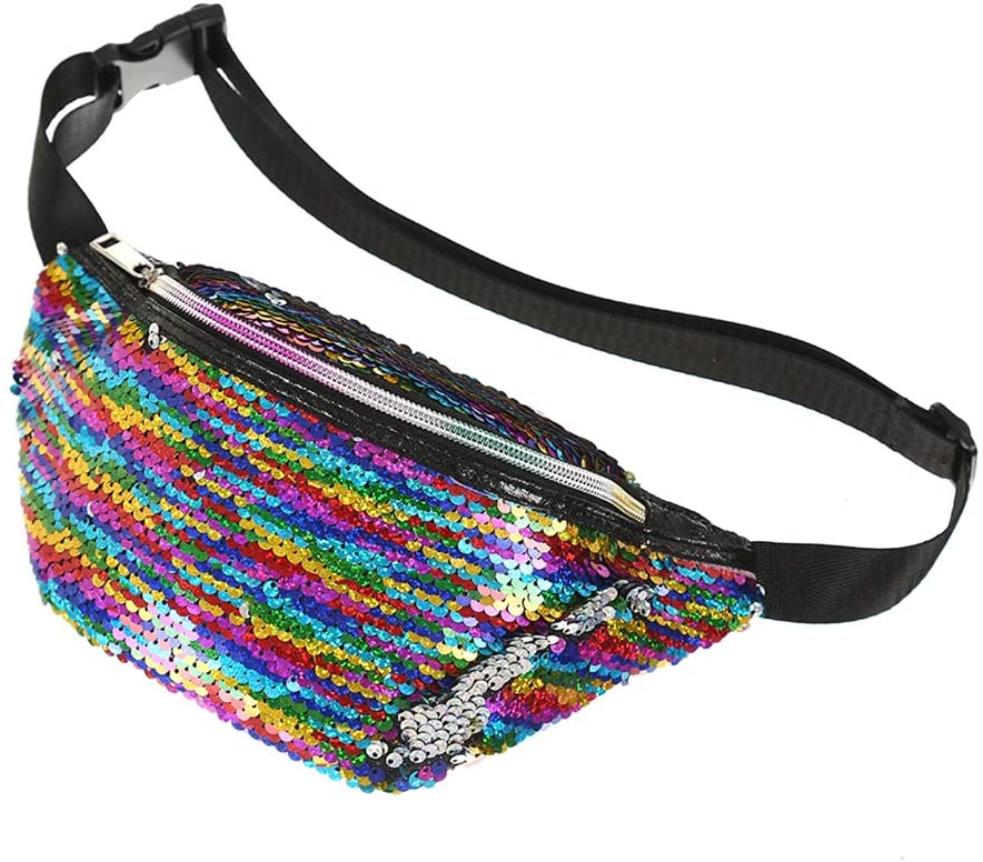FENICAL Fanny Pack Sequins Mermaid Waist Bag Flippy Bum Bag for Sports Travel Festival for Women Girls - Colorful