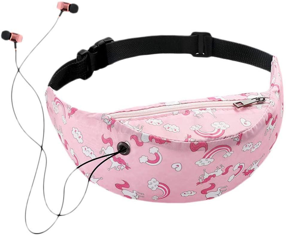 T.Y.G.F 3D Colorful Printed Waist Bag Pillow-Shaped Women's Pockets Hip Belt Bag Wallet Travel Hiking