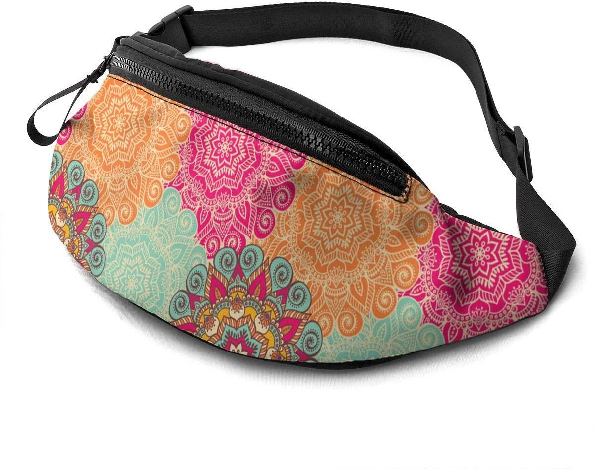 Dujiea Fanny Pack, Mandalas Waist Bag with Headphone Hole Belt Bag Adjustable Sling Pocket Fashion Hip Bum Bag for Women Men Kids Outdoors Casual Travelling Hiking Cycling