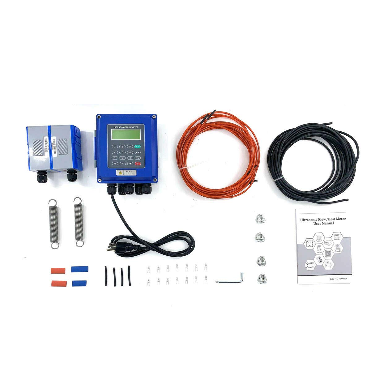 DOMINTY TUF-2000B+TL-5 Ultrasonic Flow Meter Flowmeter Portable Waterproof Ultrasonic Flow Meter Kit for Pipe Size DN700-6000mm 27.56-236.22in with Clamp-on Large Transducer TL-5