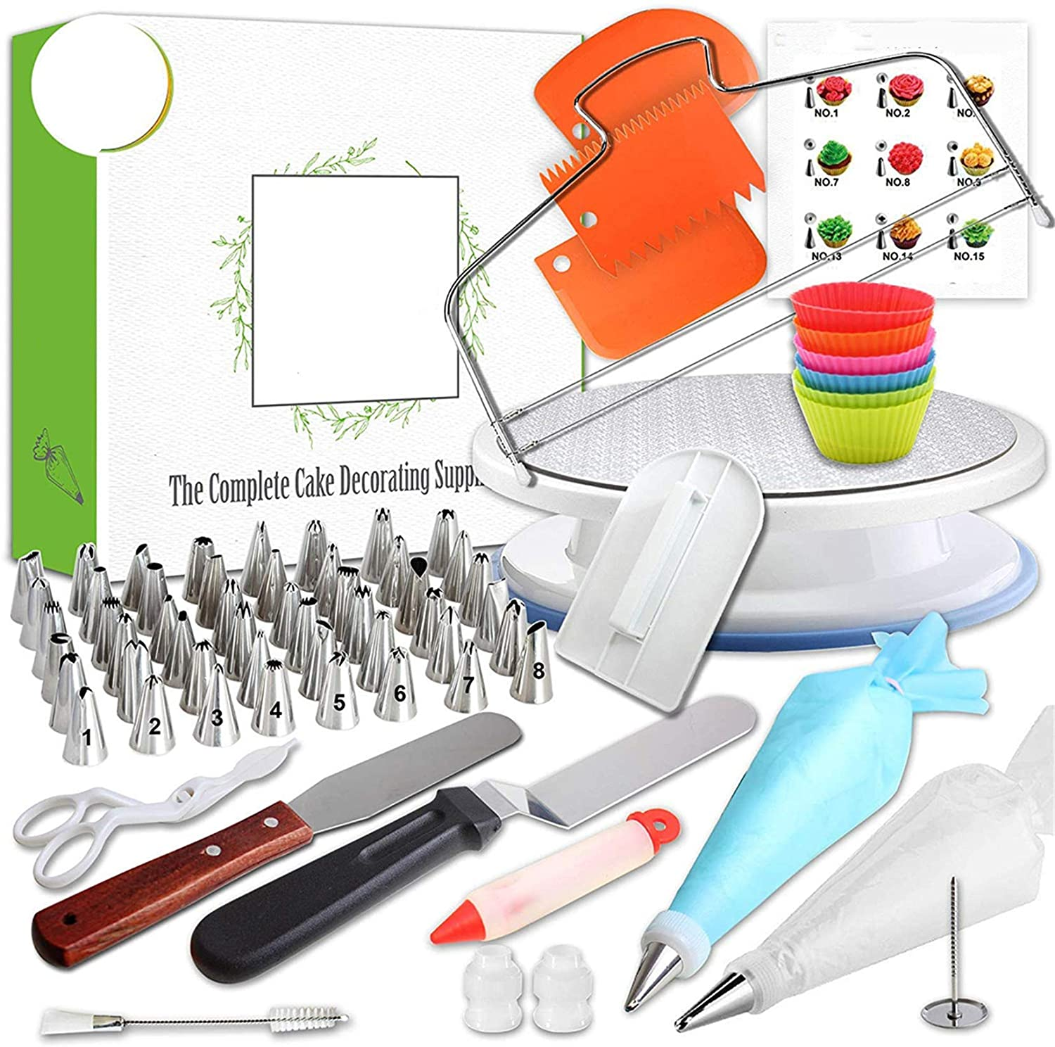Cake Decorating Supplies Kit, FantasyDay 48-Piece Piping Nozzles Icing Tips with 20 Disposable Bag, 2 Icing Spatula, 3 Scraper, 2 Coupler, 1 Pen, 1 Smoother, 6 Cupcake Mould, Rotating Turntable Stand