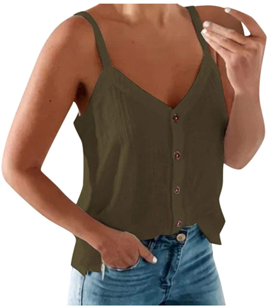 Meikosks Sexy Sleeveless Tops Women's Solid Color Camisole Fashion Button Vest Plus Size Tank