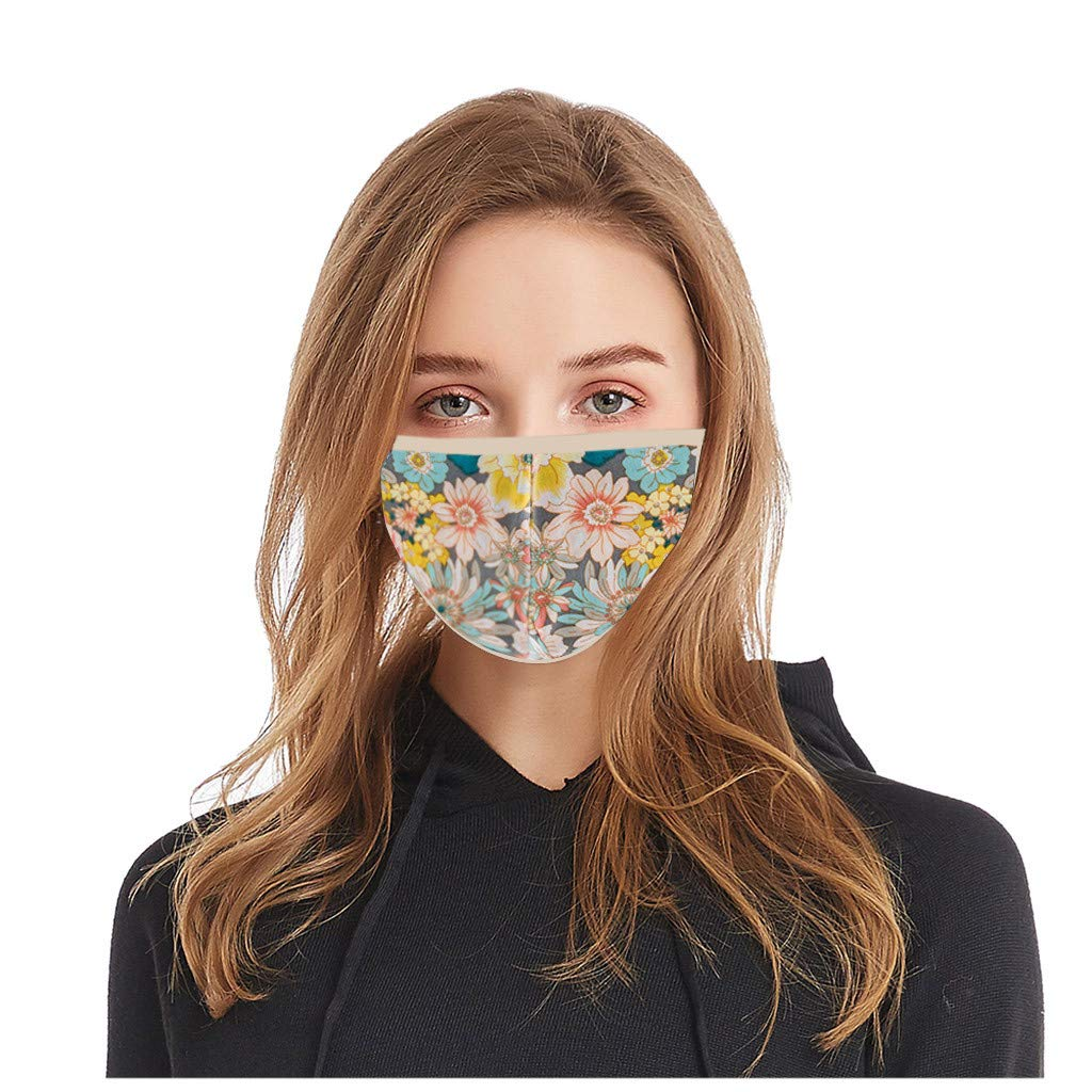 Pollyhb Adult Female Floral Print Mouth Hoods, Dust Sunshade Breathable Washable Facial Visor Adjustable Protective Wrap (D)