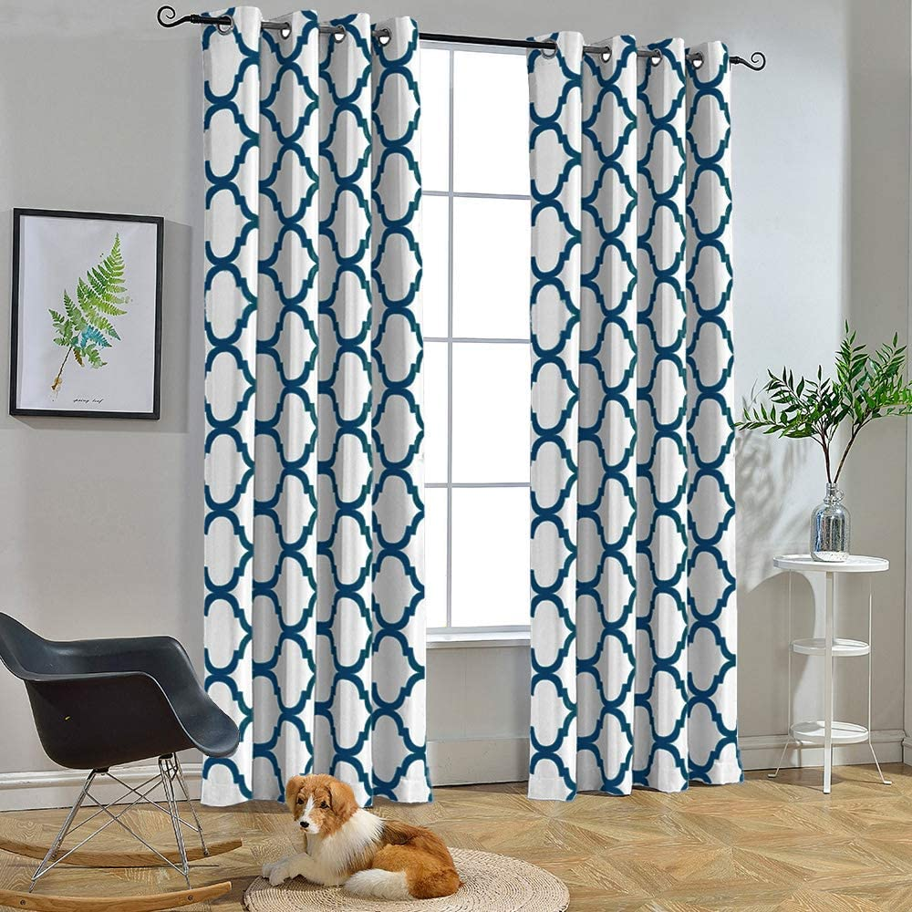 Melodieux Moroccan Fashion Thermal Insulated Grommet Room Darkening Curtains for Living Room, 52 by 96 Inch, Off White/Navy (1 Panel)