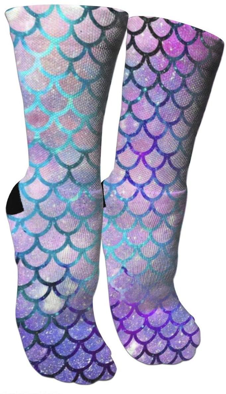 antspuent Mermaid Scales with Galaxy Compression Socks Unisex Fun Novelty Crazy Dress Crew Socks