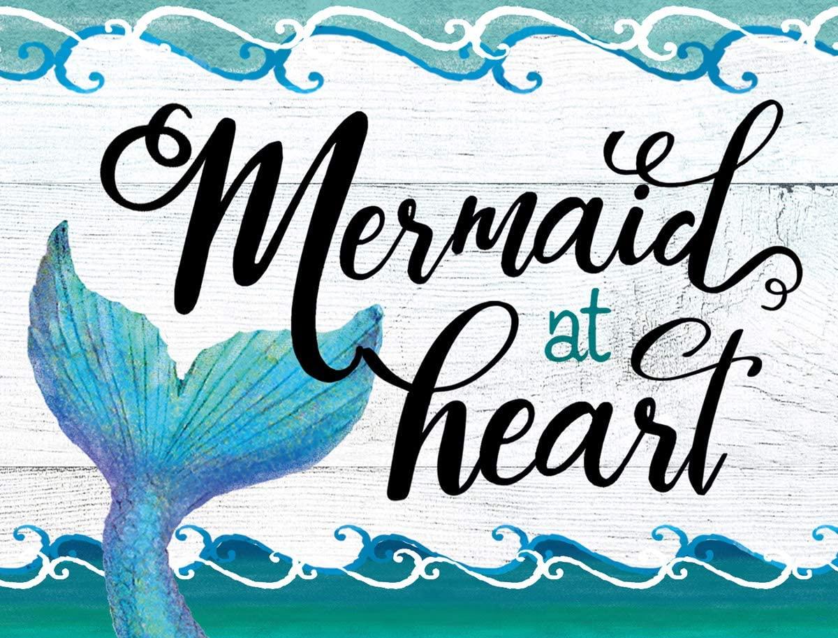 Mermaid At Heart Teal 12 x 17 Glass Cutting Board