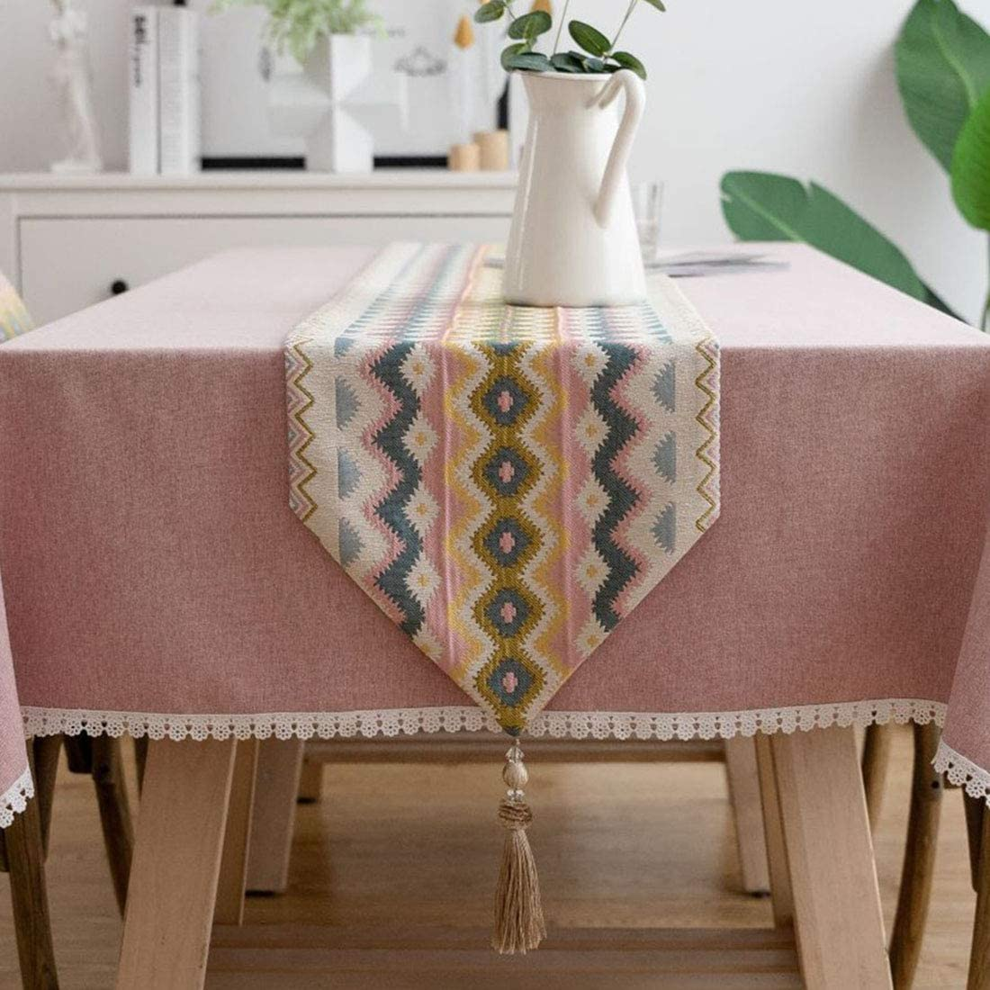 vctops Boho Colorful Wave Table Runners with Tassels Geometric Jacquard Country Style Table Runner Dresser Decoration (Wave B, 13 x 71 Inch)