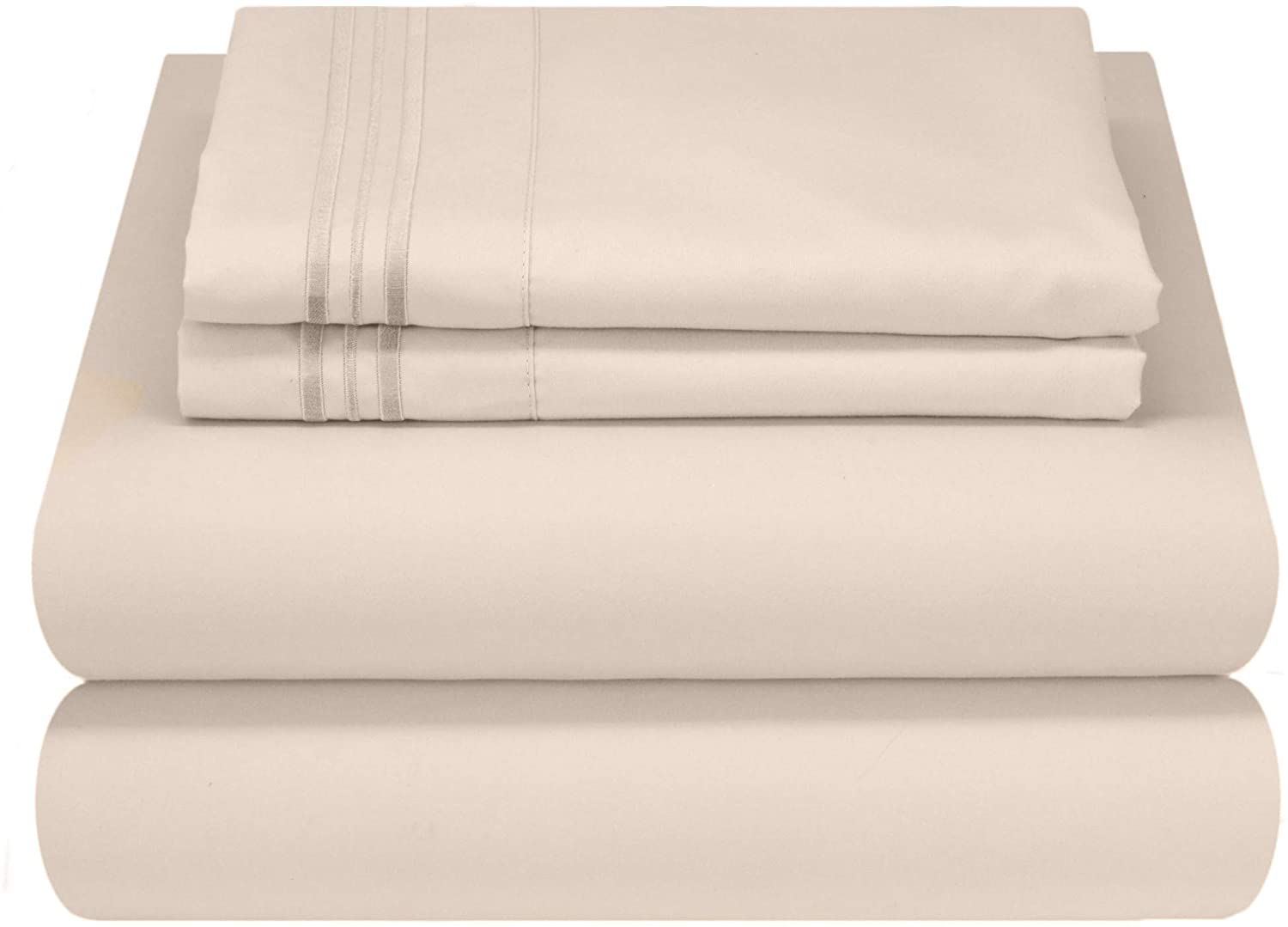 Mezzati Luxury Bed Sheet Set - Soft and Comfortable 1800 Prestige Collection - Brushed Microfiber Bedding (Beige, Twin XL Size)
