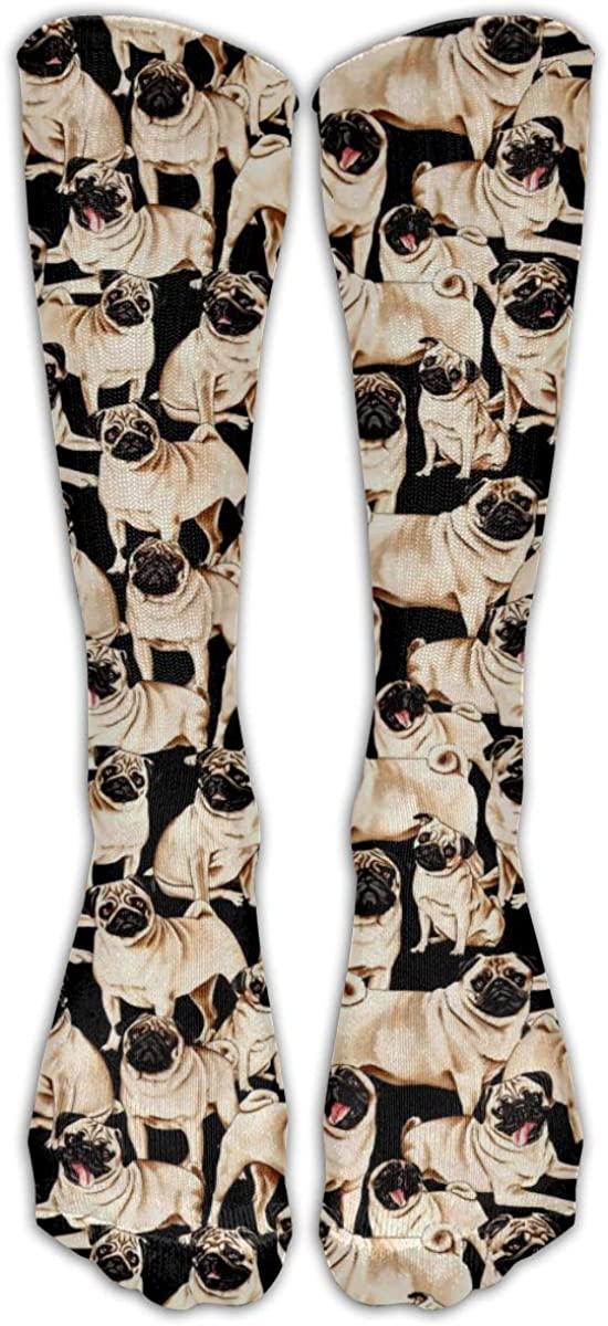 Unisex Fashion Pug Dog Crew Socks Cute Funny Housewarming Gifts, Long Knee High Socks 3D Crew Socks For Men Women