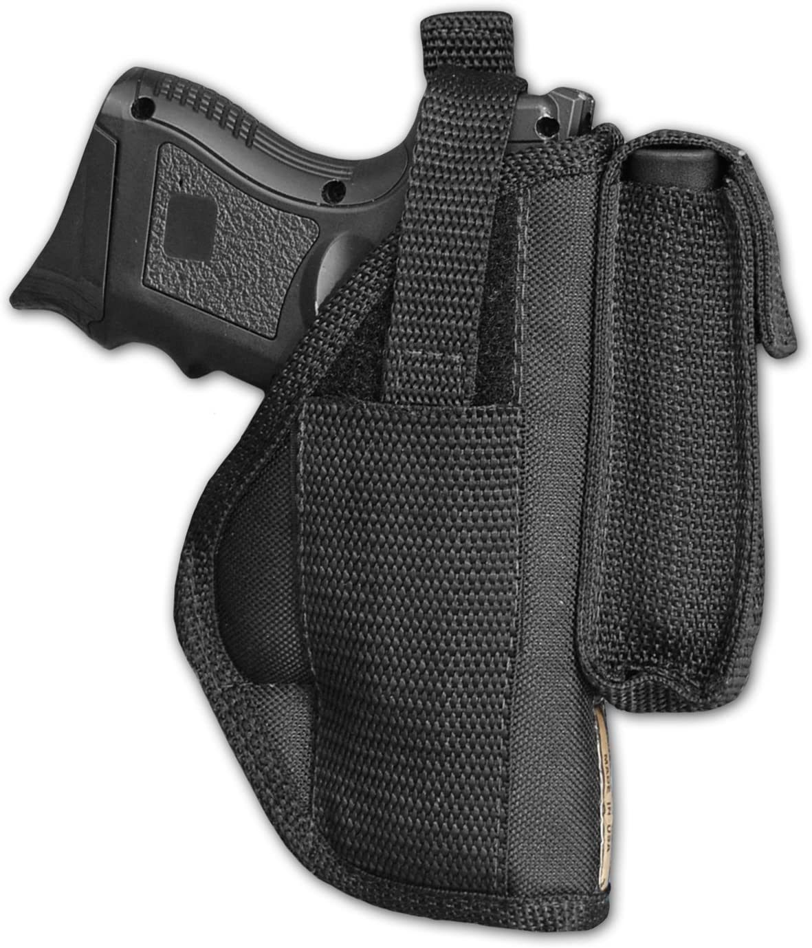 Barsony New Gun OWB Belt Holster w/Magazine Pouch for Compact 9mm 40 45 Pistols