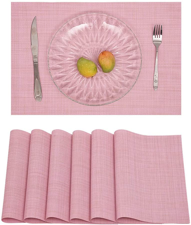 Princess home Place Mats Set of 6 Heat-Resistant PVC Table Mats Washable Table Decor for Christmas, Thanks Giving, Dinner Parties and Everyday Use (Pink-6)