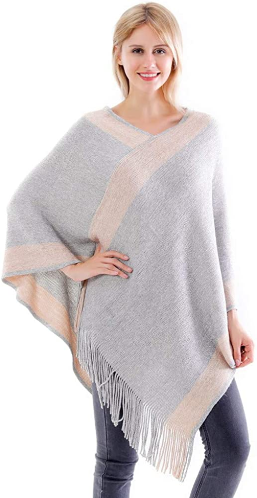 Belle Dame Women's V Neck Striped Poncho Sweater Top Pullover Shawl Wrap Cape with Fringes