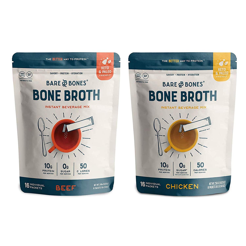 Bare Bones Bone Broth Instant Powdered Beverage Mix, Chicken & Beef, 10g Protein, Keto & Paleo Friendly, 15g Sticks, Variety Pack of 32 Servings