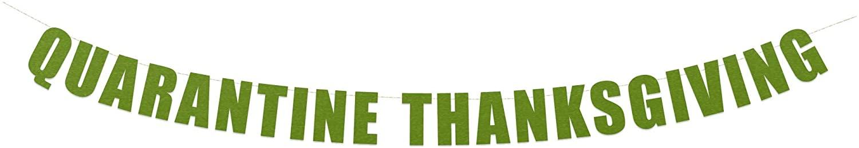 Quarantine Thanksgiving Banner - Virtual Thanksgiving Party Decorations, Quarantine Friendsgiving Banner, 2020 Thanksgiving Decor | String It Banners (Green Metallic)