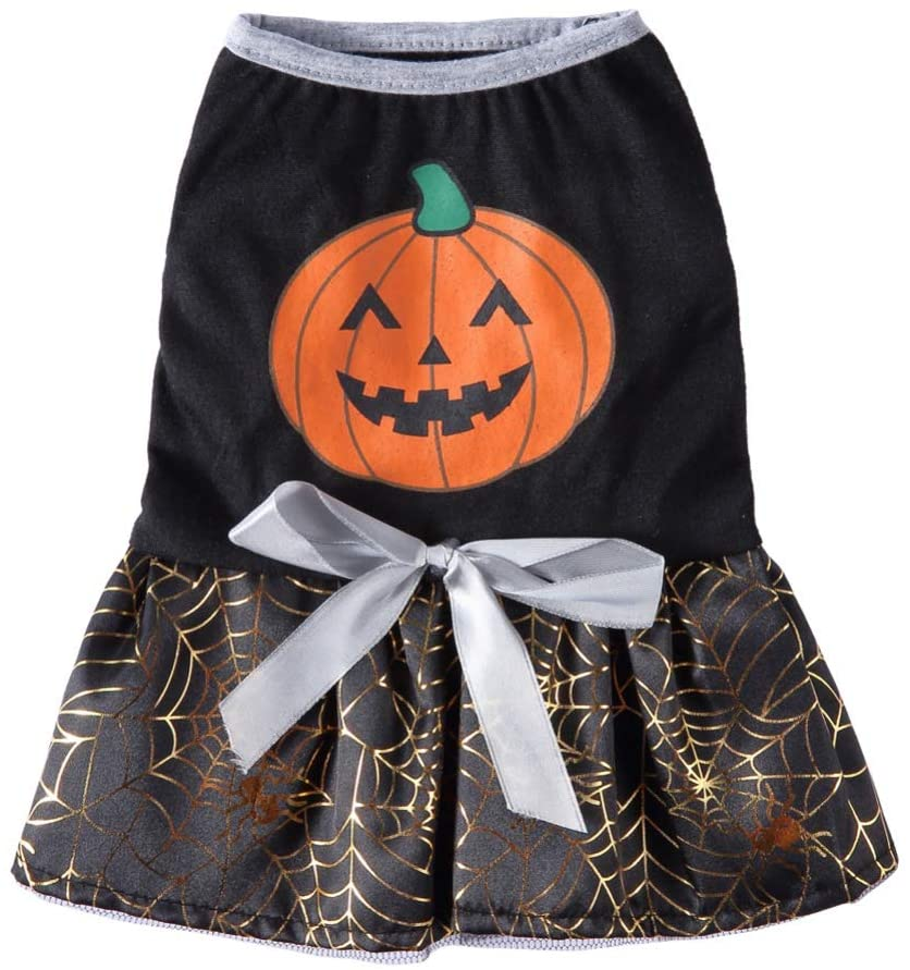 Jinpet Pet Halloween Cosplay Costume Pumpkin Bat Princess Dress for Small Medium Dogs Cats
