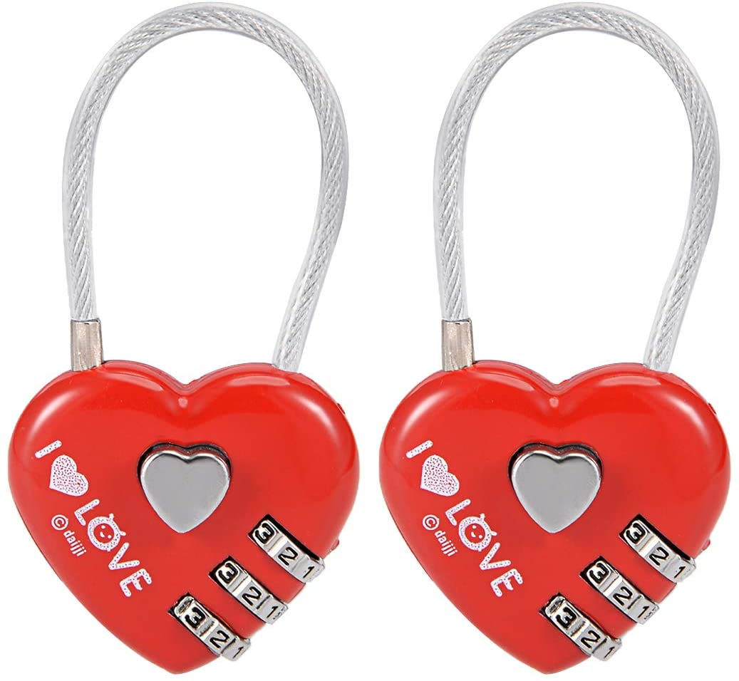 uxcell 3 Digit Combination Padlock, 3mm Wire Shackle, Zinc Alloy Code Locks Red, 2Pcs