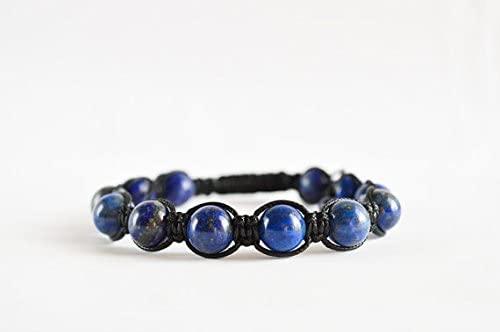 Anxiety Gemstone 10mm Adjustable Blue Lapis lazuli Bracelet Round, Smooth 7