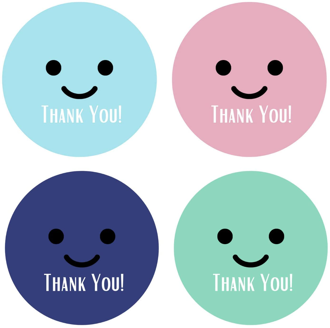 Mobiusea Party Thank You Stickers Roll | Happy Smiley Faces |1.5 inch | Waterproof | 500 Labels for Small Business, Packaging, Mailer Seal Stickers, Baby Showers, Kids Birthday Party | 4 Color Designs