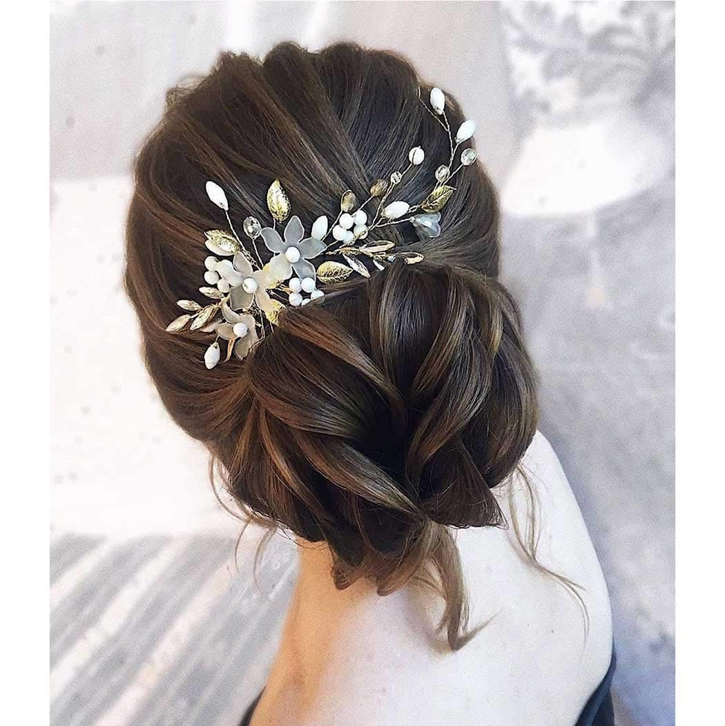 Catery Flower Bride Wedding Hair Comb Crystal Hair Jewelry Headpieces Leaf Bead Side Combs Bridal Decorative Prom Hair Accessories for Women and Girls (Silver)