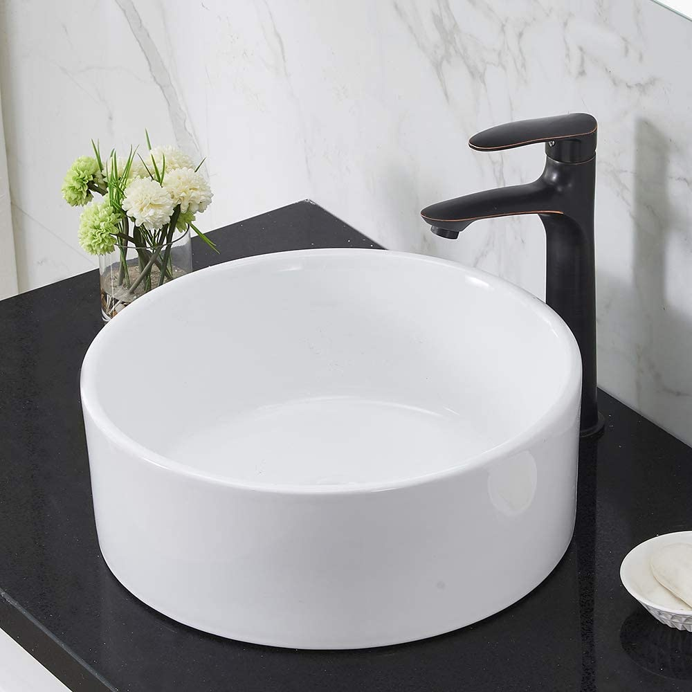 VCCUCINE Modern 16.3 Inch Bathroom Porcelain Round White Ceramic Vessel Sink, Countertop Sink for Lavatory Vanity Cabinet