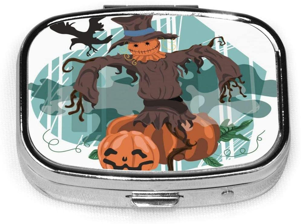 Daily Pill Organizer Pumpkin Man Crow- Square Medicine Box Case Compact 2 Compartment Vitamins Tablet Holder Container Metal Portable for Daily Needs Travel Purse Pocket