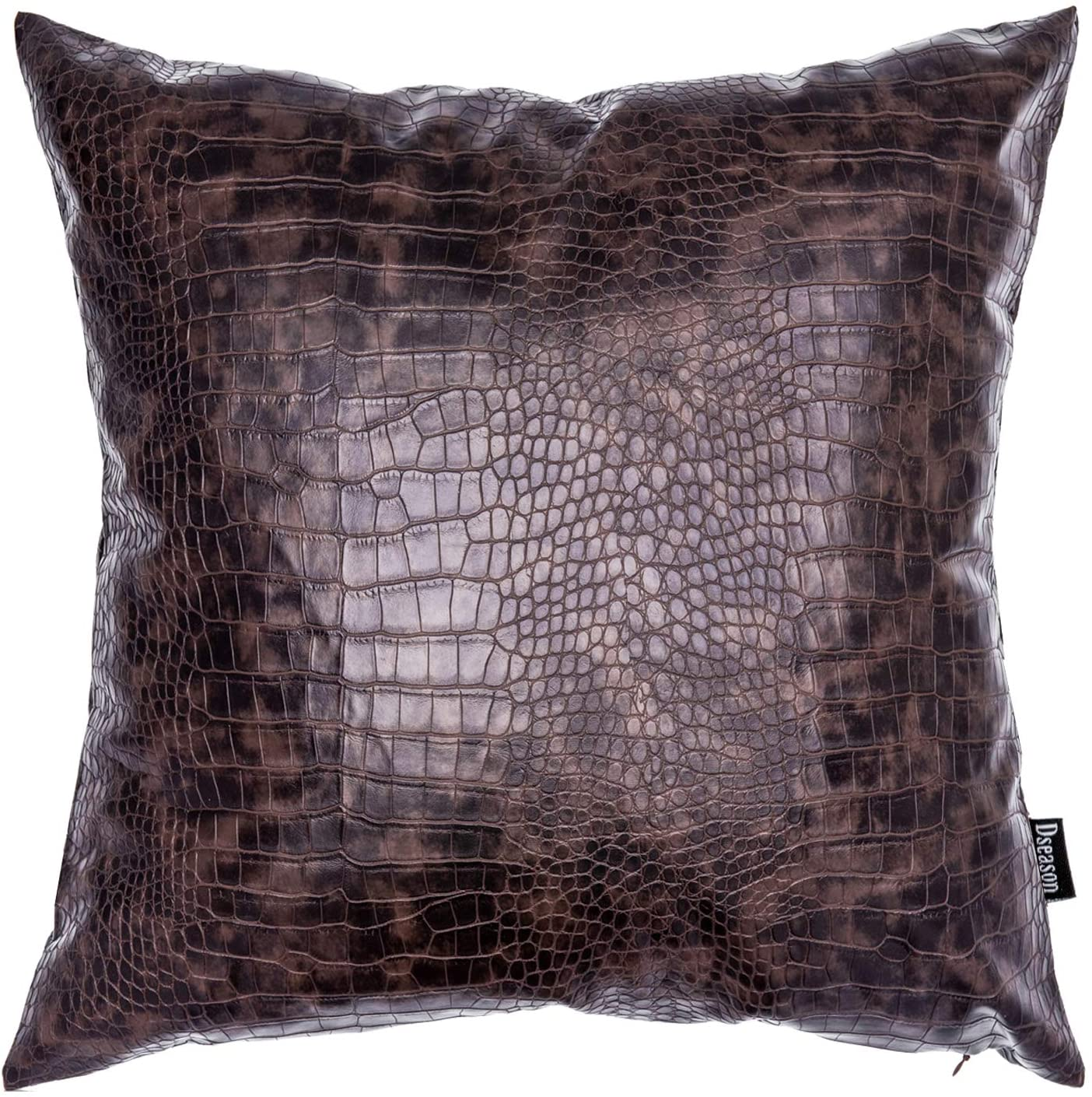 Dseason Faux Leather Crocodile Pillowcase Throw Pillow Cover,Modern Design Decorative Square Pillows Cases Bedroom Living Room Cushion Cases for Couch Bed Sofa 18 X 18 Inches Light Tan