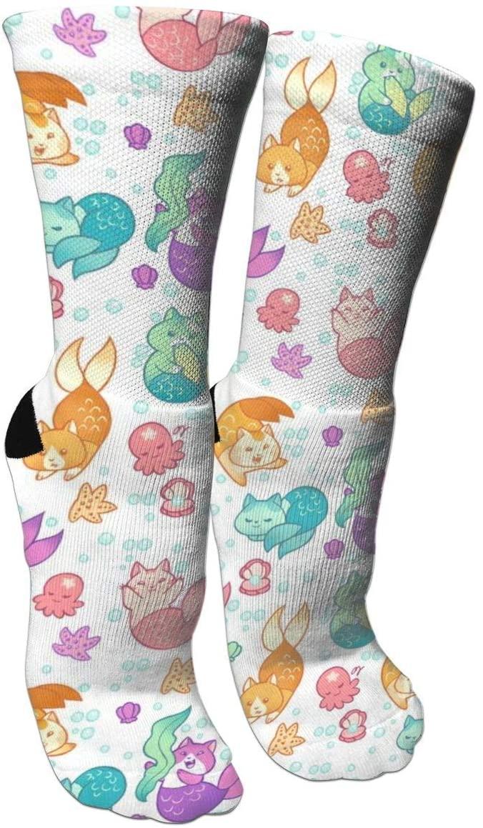 antfeagor Compression Socks Cat Mermaids Athletic Tube Stockings Women Men Sport Long Sock