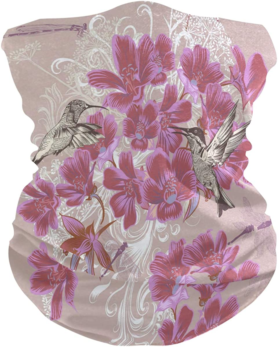 Balaclava Face Scarf Floral With Hummingbird Headwear Neck Gaiter Sun UV Scarf for Women Men Outdoor