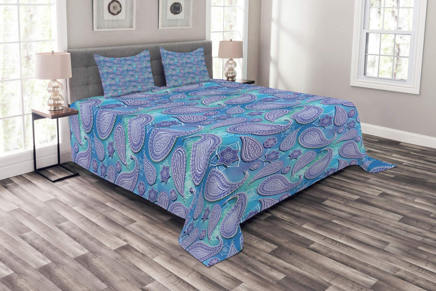 Lunarable Aqua Paisley Bedspread, Repetitive Pastel Teardrop Shaped Eastern Motif, Decorative Quilted 3 Piece Coverlet Set with 2 Pillow Shams, Queen Size, Dark Ceil Blue Seafoam and Deep Sky Blue