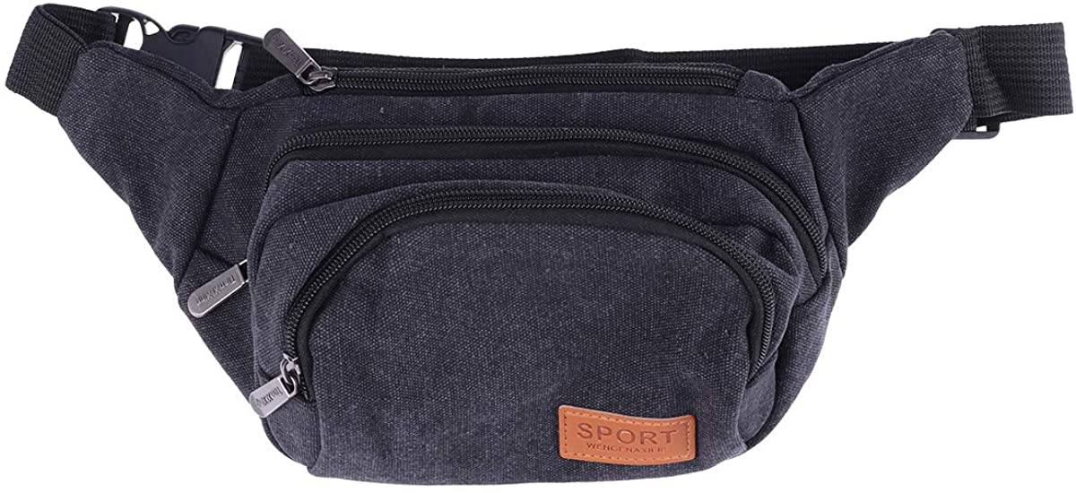FENICAL Fanny Packs Canvas Waist Pouch Multifunction Nylon Bum Bag for Sport Travel