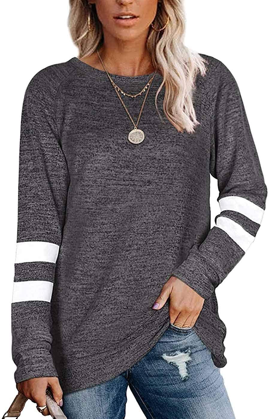 Reaowazo Womens Long Sleeve Tops Color Block Sweatshirts Sweaters Fall T Shirt Clothes