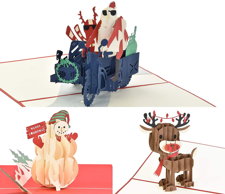 Christmas Greeting Pop Up Cards 3 Pack Santa Reindeer Snowman