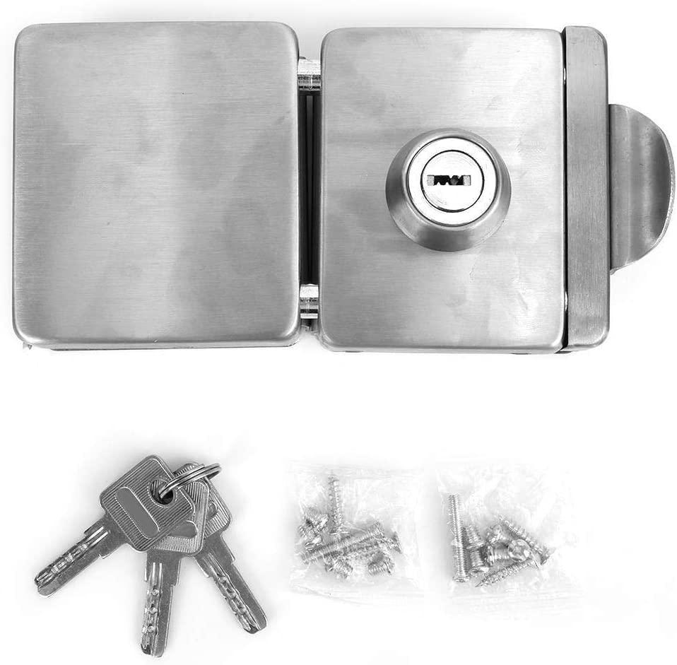 Maxmartt Stainless Steel 10-12mm Glass Door Lock Square Double Door Open Gate Lock 3 Keys
