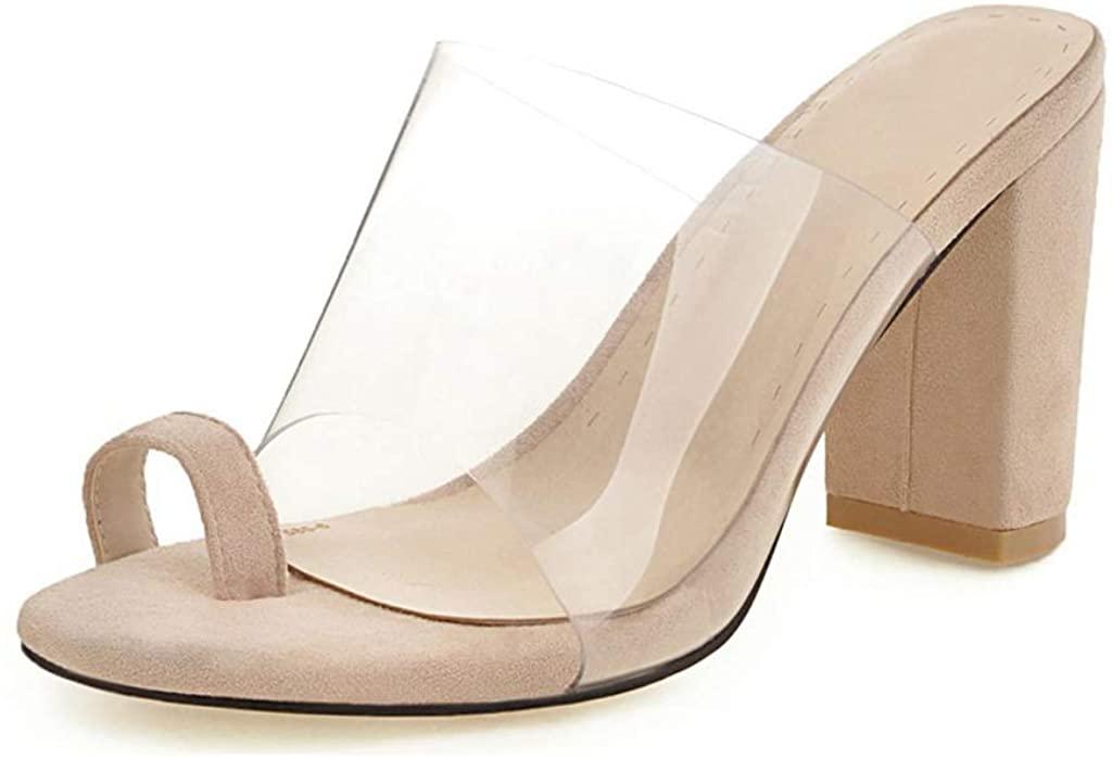 MIOKE Women's Chunky Block High Heel Sandals Clear Toering Suede Comfort Slip On Wedge Slide Dress Sandal