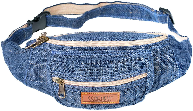 CoreHemp Fanny Pack Waist Hip Bag Handmade From Pure Hemp (Blue)