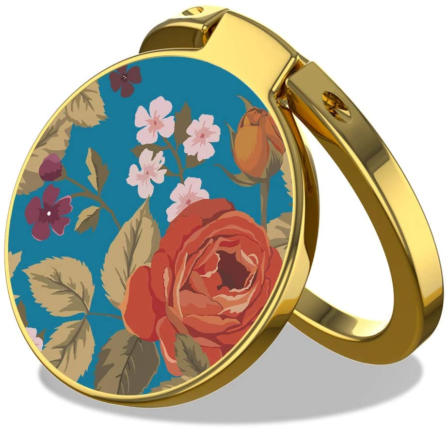 Cell Phone Ring Holder Finger Stand - MOSNOVO Vintage Roses Floral Flower Kickstand for Girls Women, 360° Rotation Metal Ring Grip for Magnetic Car Mount, Compatible with All Smartphone - Gold