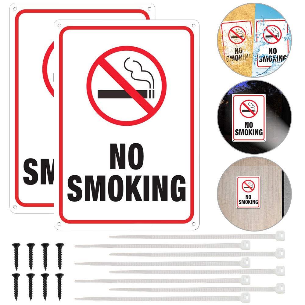 BUZIFU No Smoking Sign, 2 Pack Warning Signs 10