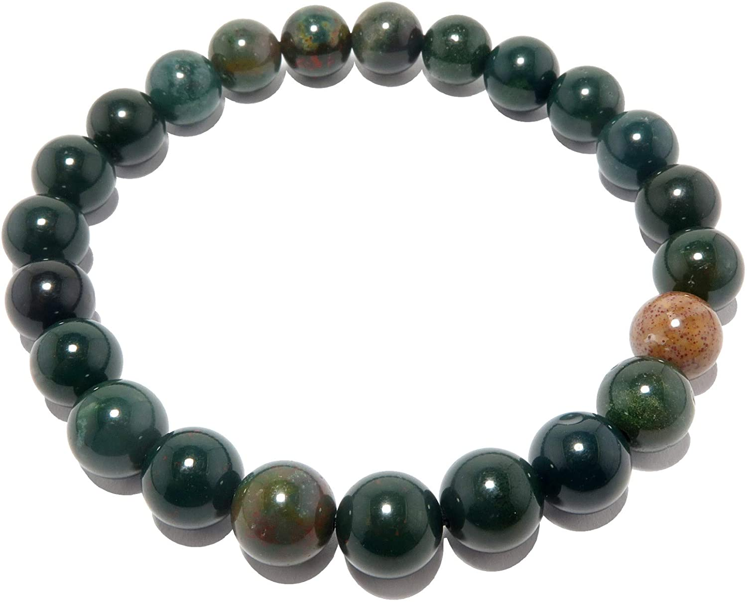 Bloodstone Bracelet 7mm Boutique Stretch Genuine Green Red Round Prayer Meditation Gemstone Crystal Energy B02 (8