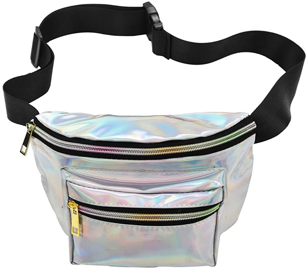 LUOEM Fanny Pack Hologram Waist Bag Waterproof Shiny Neon Chest Pack for Women(Silver)