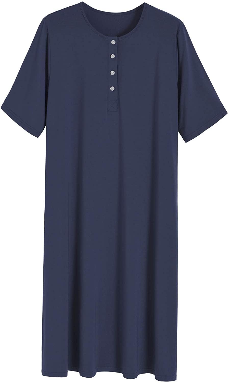 Latuza Women's Long Sleep Shirt Henley Nightshirt with Pockets