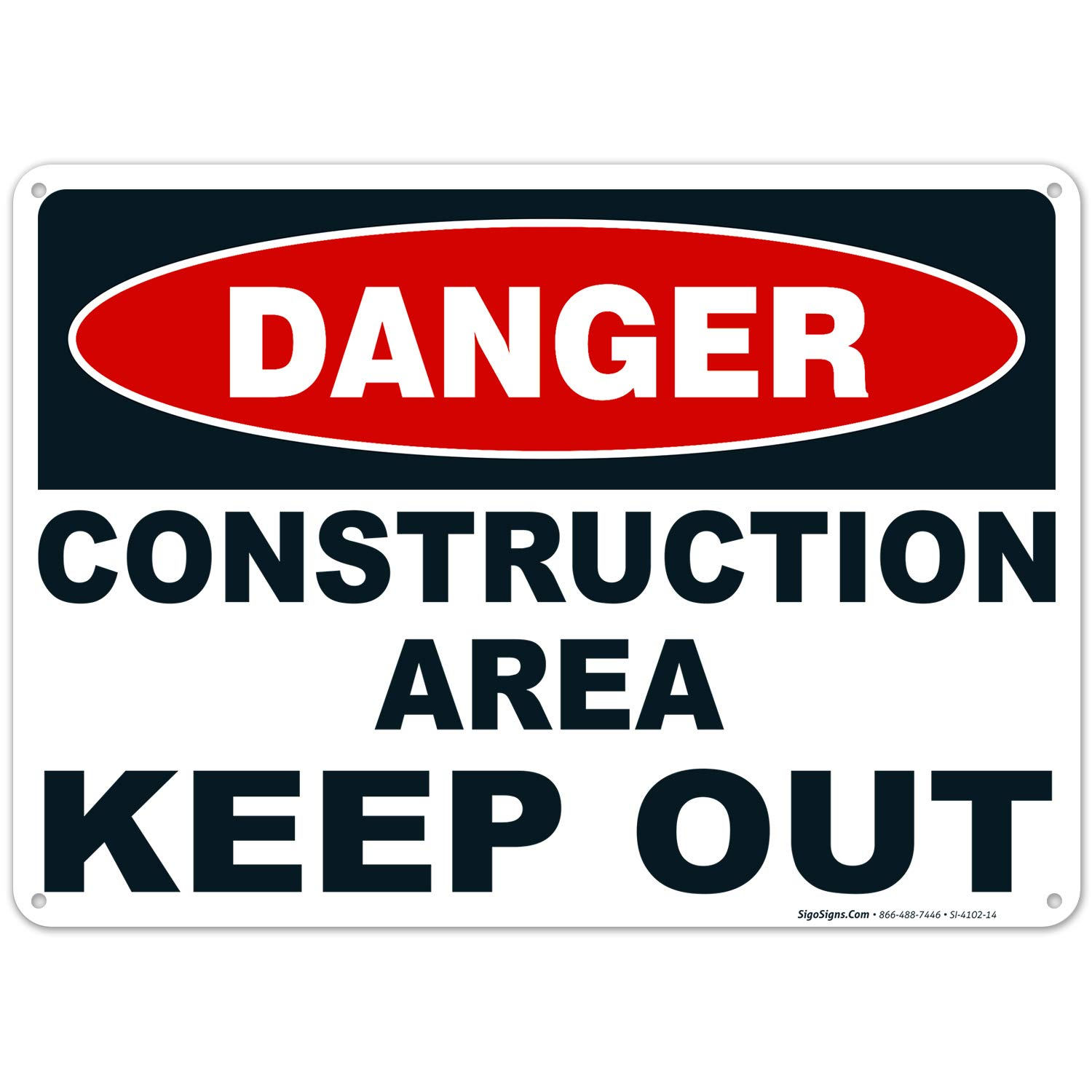 Danger Construction Area Keep Out Black Sign Large 10 X 14 Rust Free 0.40 Aluminum Sign UV Printed with Professional Graphics-Easy to Mount Indoors & Outdoors
