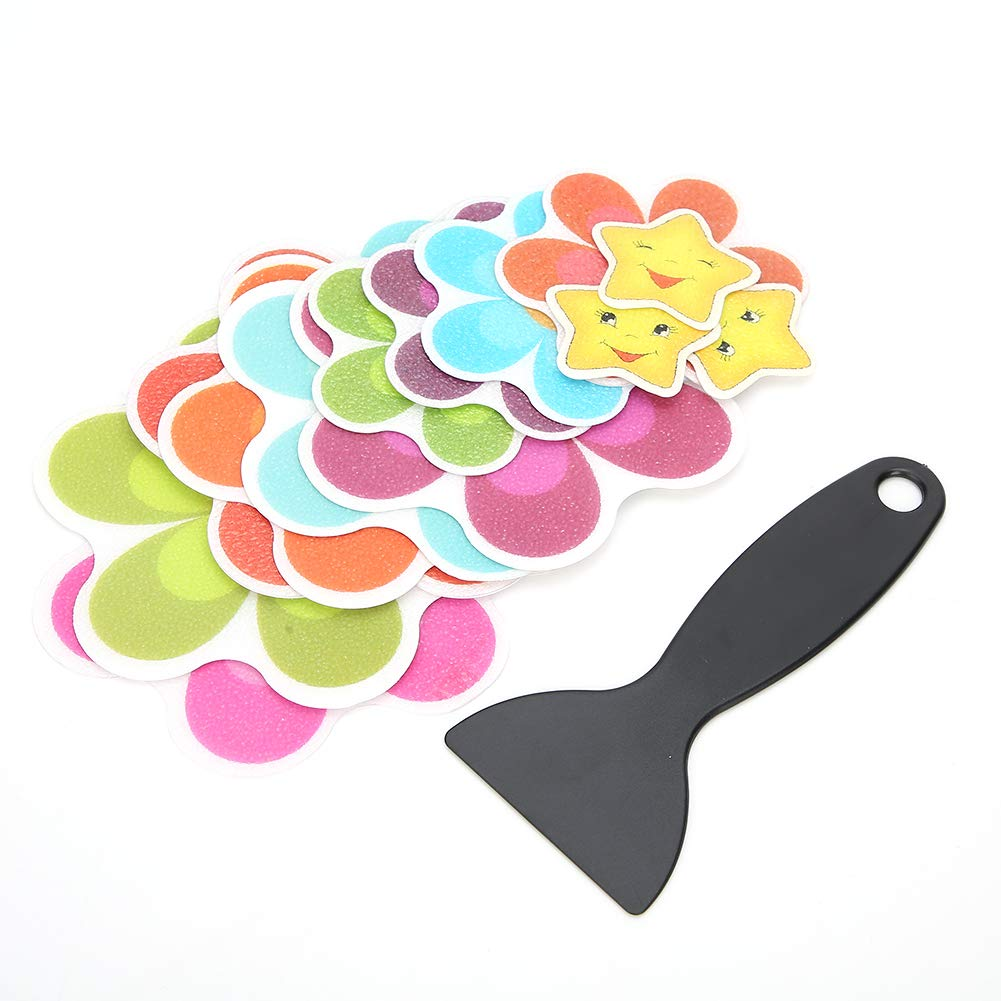 OhhGo 13Pcs Beautiful Flower Shape Bathroom Waterproof Non-Slip Sticker with Scraper for Bathtub Use