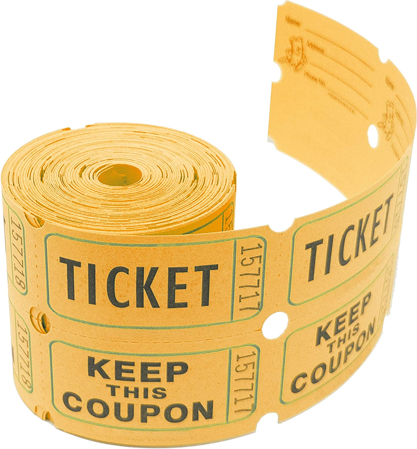 Tacticai 200 Orange Raffle Tickets (8 Colors Available) for Events, Entry, Class Reward, Admittance, or Fundraising, Tear Away Tickets, Brightly Colored Paper (Double Roll - Keep) - Made in USA
