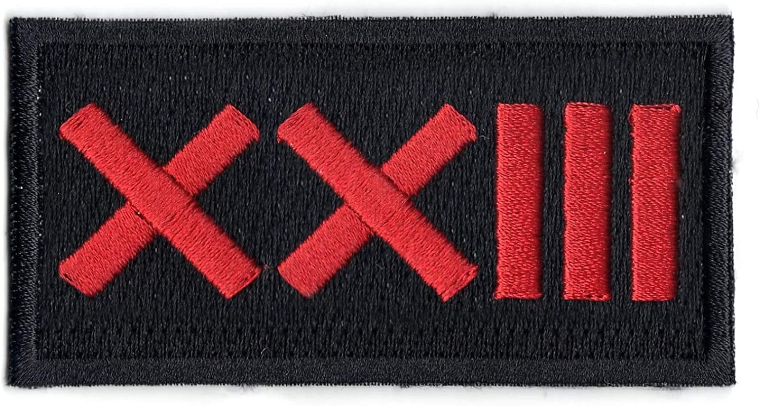 Roman Numeral Number 23 Street Wear Embroidered Iron On Patch Red