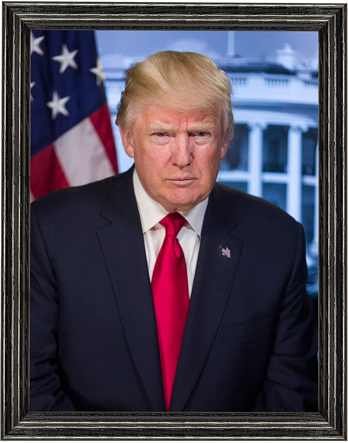 Donald Trump Photograph in a Black Wood Frame - Historical Artwork from 2016 - US President Portrait - (11